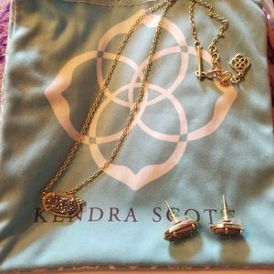 Kendra Scott Drusy earrings and necklace